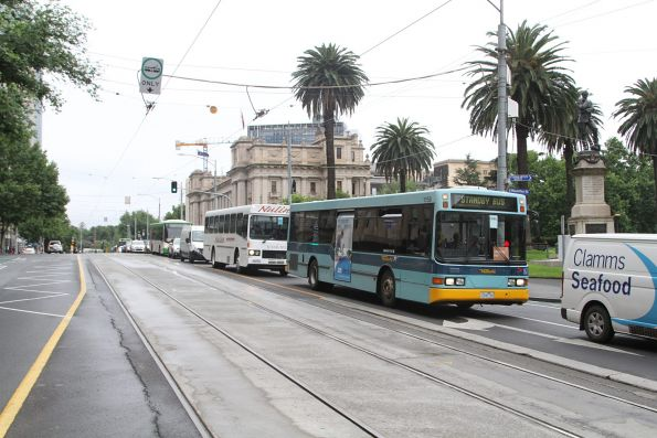 Ventura #1159 2546AO leading a queue of buses at Parliament station