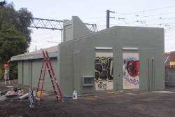 Richmond's way and works office being repainted, at the intersection of the lines towards South Yarra and Burley