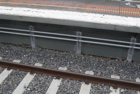 New signal conduit installed along the platform face at Burnley station