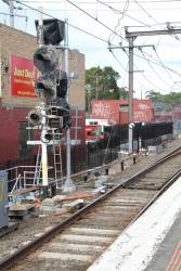 New signals awaiting commissioning at the down end of Burnley station