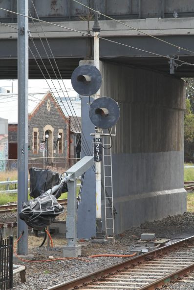 Tilt mast signals awaiting commissioning at the up end of Burnley station