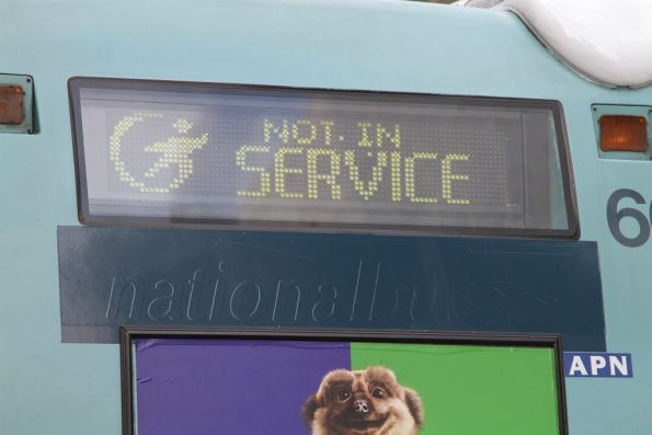 'NationalBus' logo on a Transdev bus covered up with a blue sticker