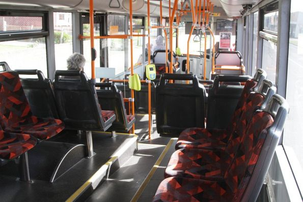 Sideways seating at the rear of a former Melbourne Bus Link bus