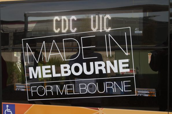 'Made in Melbourne for Melbourne' sign on the side of CDC Melbourne double decker bus #131