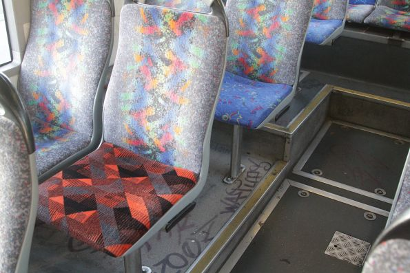 Mix of different seat fabrics onboard a Transdev bus