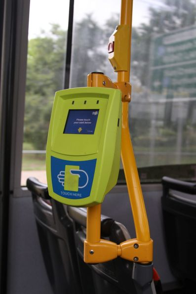 Complicate myki reader mounting bar onboard Transdev bus #500 4987AO