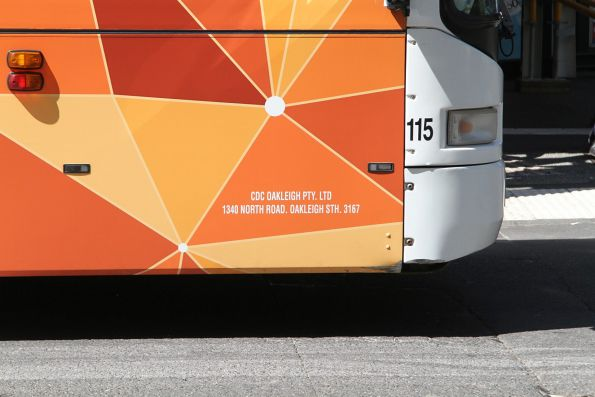 'CDC Oakleigh Pty Ltd' sign on bus #115
