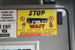 Grenda branded 'Stop and wait until bus has departed before you step onto the road' message onboard a Transdev bus