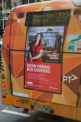 Transdev recruitment advertisement for drivers on the rear of a Melbourne bus