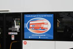 'Proudly brought you to you by CDC Victoria' on Volgren double decker bus #131 BS01GV
