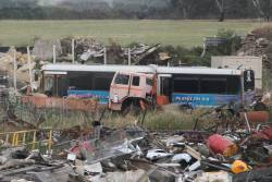 Down to just one ex-ACTION buses at the Marx Metal Recycling scrapyard outside Ararat