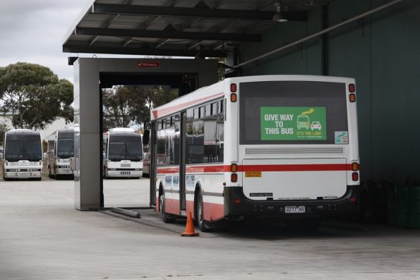 Bus 2277AO parked in the bus wash at the Moonee Valley Coaches depot in Tullamarine