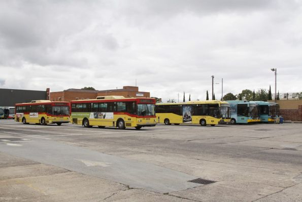 National Bus fleet stabled between peaks at the North Fitzroy depot