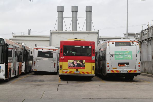 Which one is the odd one out - Transdev buses #707, #277 and #647 in the depot at Footscray