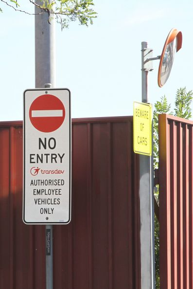 'No Entry: Transdev authorised employee vehicles only' sign at the North Fitzroy bus depot