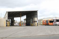 Bus wash and fuel point at the CDC Melbourne depot at Sunshine