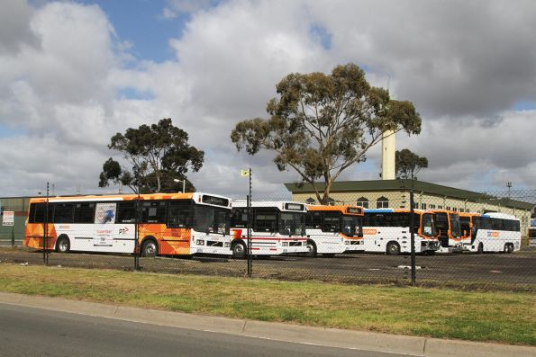 Lineup of high floor buses at the CDC Melbourne depot in Sunshine