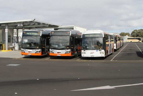 Transdev buses #956 8036AO, #947 7869AO and #512 4999AO at the depot in Sunshine