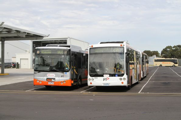 Transdev buses #567 6336AO and #513 2165AO at the Sunshine depot