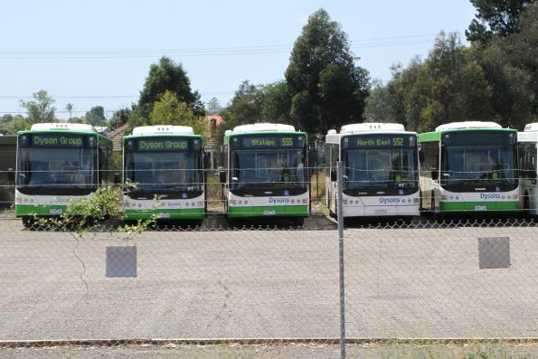 Dysons buses in their depot at Reservoir