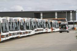 Line up of CDC Melbourne low floor buses at the Wyndham depot
