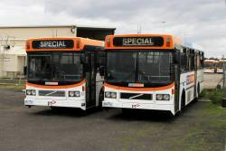 CDC Melbourne high floor buses #51 4811AO and #50 4869AO at the Sunshine depot