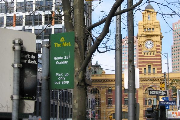 'The Met'-era bus stop sign on Elizabeth Street for the Sunday-only route 357 bus