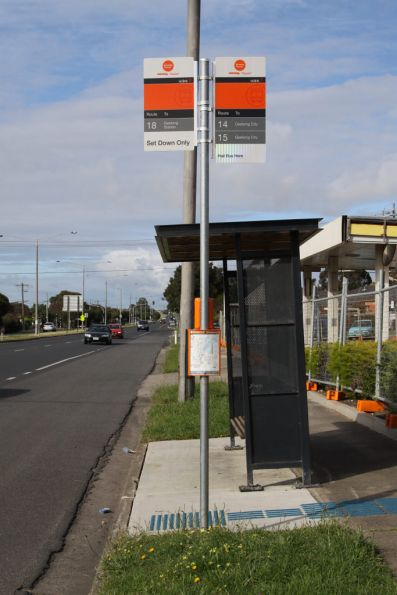 'Set down only' bus stop for route 18 on Colac Road, Belmont