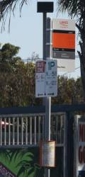 'Lakes Transit' bus stop flag in Lakes Entrance