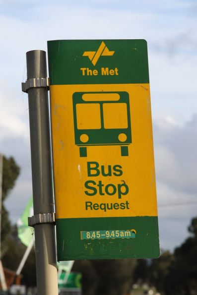 Old PTC / The Met bus stop sign