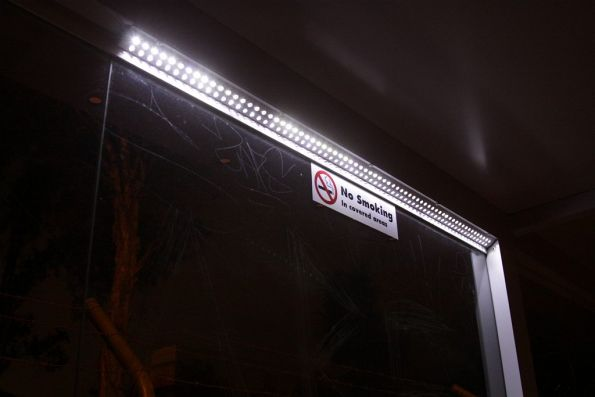 Solar powered LED lighting in a bus shelter