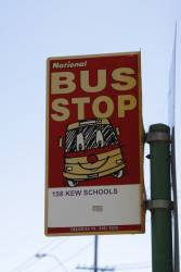 Old National bus stop stop in Kew, for the route 158 Kew school run