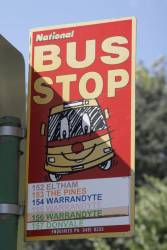 Old National bus stop sign in Kew, for the route 152-157 Kew school runs