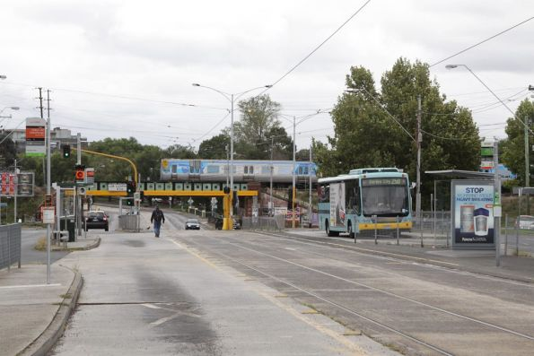Trains, trams and buses at the Clifton Hill interchange