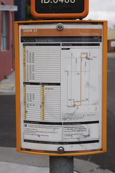 Bus stop timetable and map for the route 509 bus along Hope Street