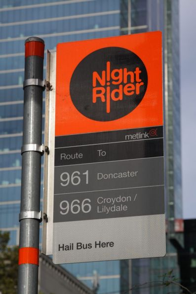 NightRider bus stop on Bourke Street in the CBD - not yet rebranded as 'PT>'