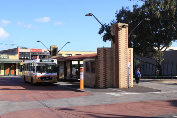 Sita high floor bus picking up passengers at the Yarraville station bus terminus