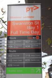 'Swanston St / Bay 1 / Full Time Bay' bus stop eastbound on Lonsdale Street