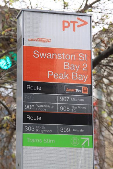 'Swanston St / Bay 2 / Peak Bay' bus stop eastbound on Lonsdale Street