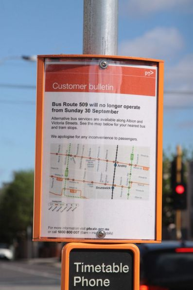 Notice of the withdrawal of the route 509 bus on Hope Street, Brunswick