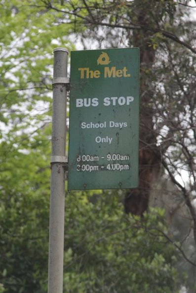 'The 'Met' school bus stop sign surviving out in the sticks