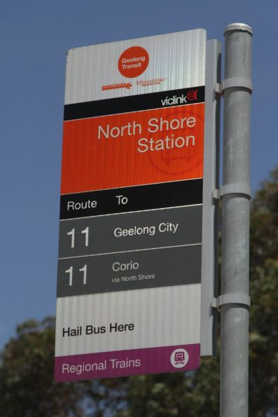 Purple 'Regional Trains' patch on a Viclink bus stop sign in Geelong