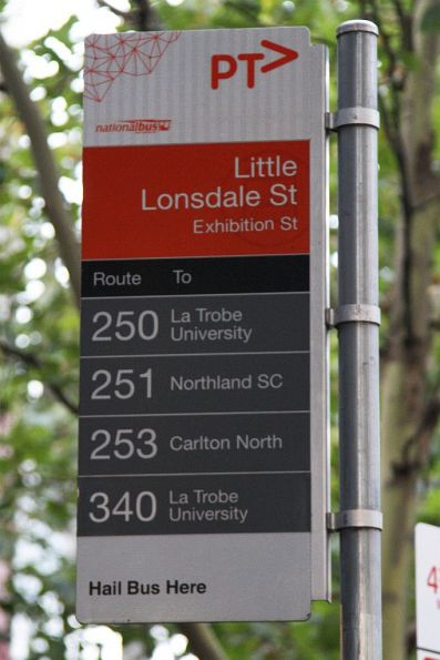 Bus stop recently rebranded to PTV, but with out of date National Bus logos still in place