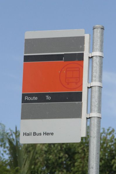 Metlink style bus stop sign, with route and operator details all blanked out