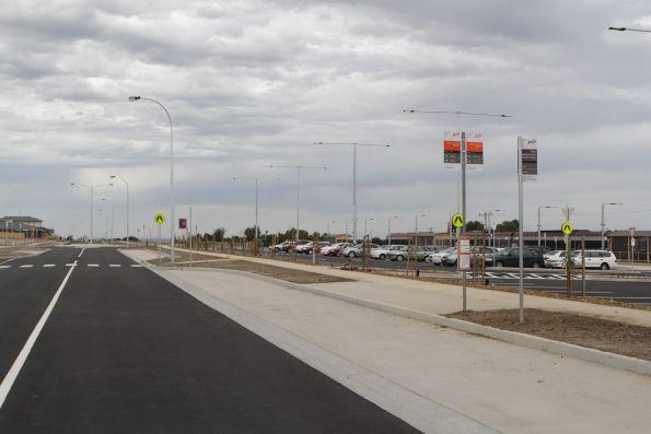 No bus shelters for passengers waiting outside the new Waurn Ponds railway station in Geelong