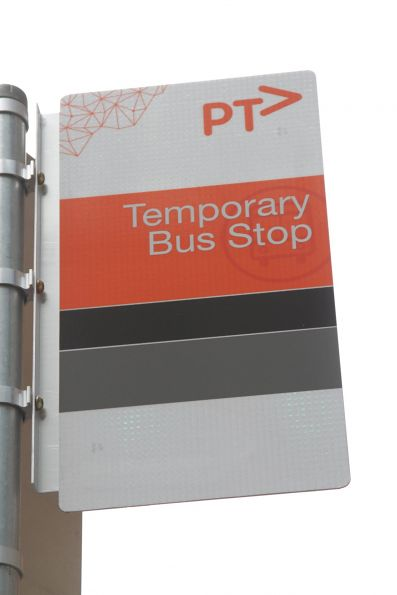 PTV branded 'Temporary Bus Stop'