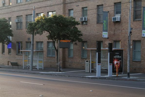 Route 402 terminus on Victoria Parade in East Melbourne, and a future SmartBus stop