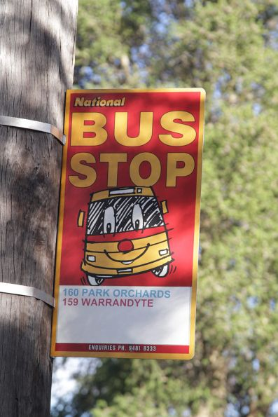 Old National bus stop sign in Kew, for the route 159 and 160 school bus services