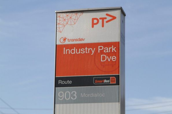 'Industry Park Drive' bus stop on route 903 through Brooklyn