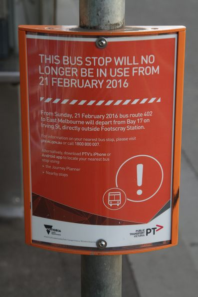 Notice that the route 402 bus stop at Footscray station has been moved